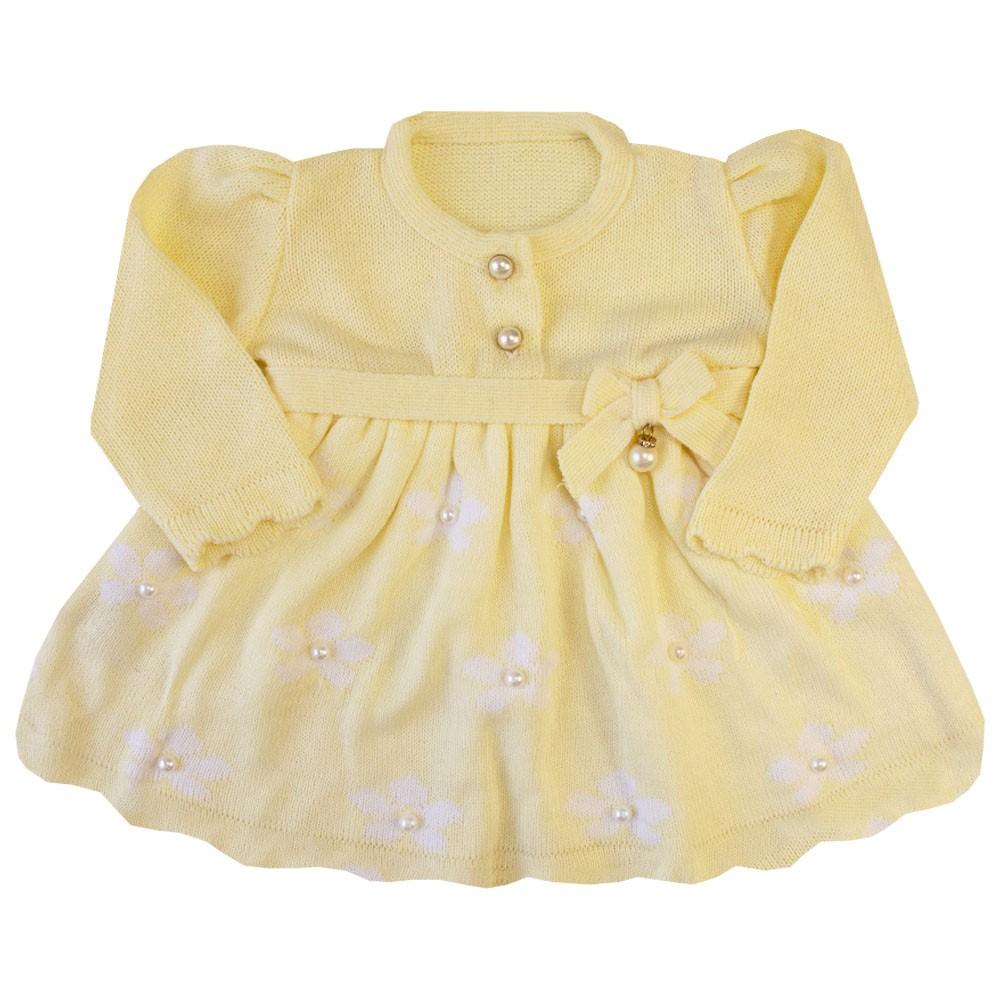 Saída de maternidade 3 flores vestido, calça e manta - Amarelo bebê