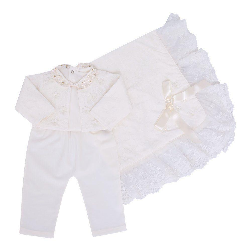 8ac3314f8 Saída de maternidade 4 peças feminina Marfim - Petit Pois Enfant