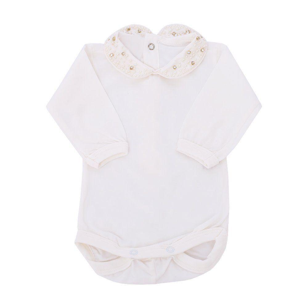 Saída de maternidade feminina casaco, calça, body e manta - Marfim