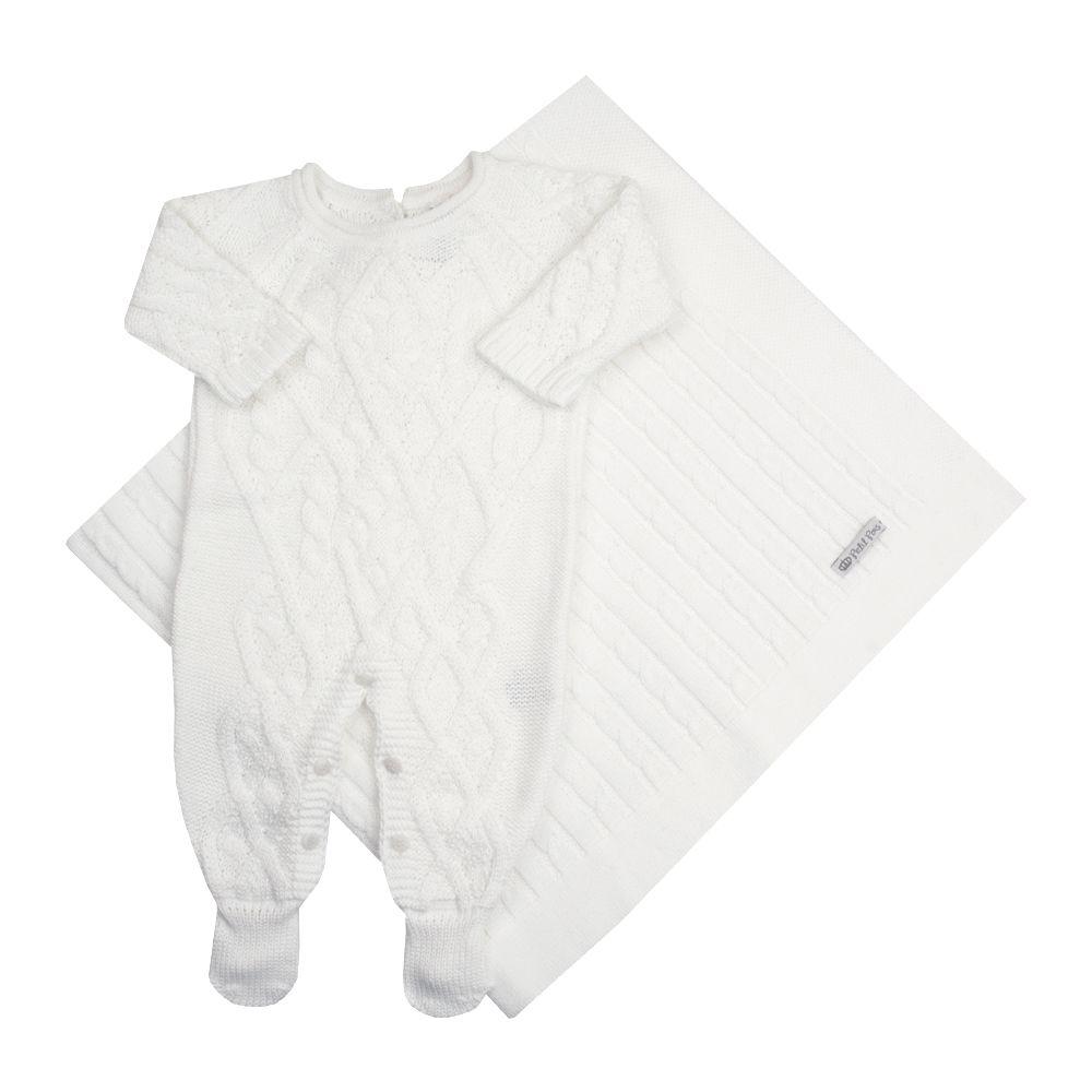 Saída de maternidade cedrilho macacão e manta - Branco