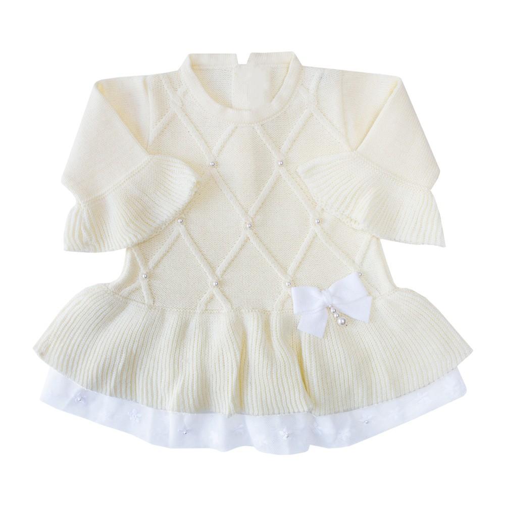 Saída de maternidade barra renda vestido, calça e manta - Amarelo bebê