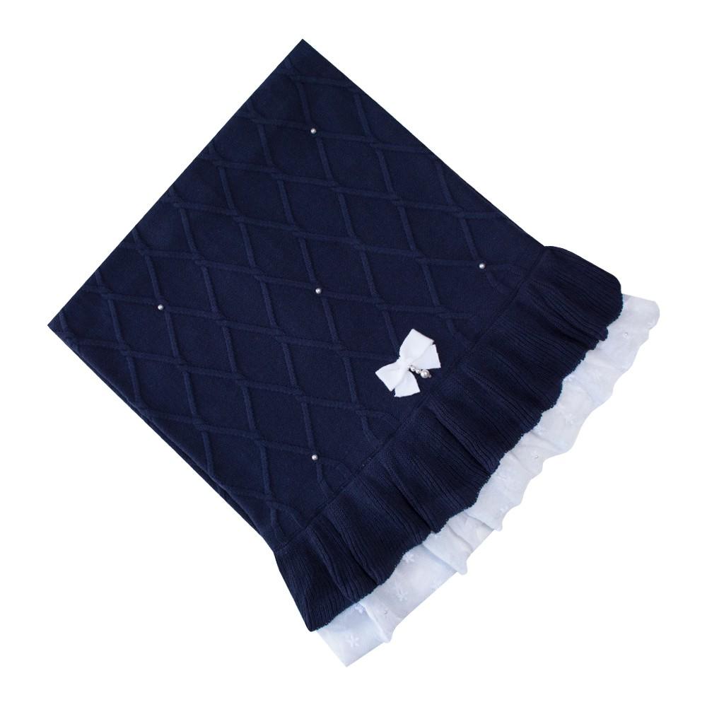 Saída de maternidade barra renda vestido, calça e manta - Azul marinho