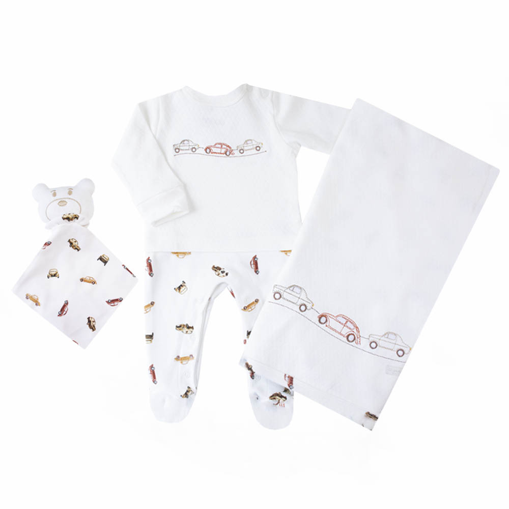 Saída de maternidade carrinho com macacão, manta e naninha - Off white