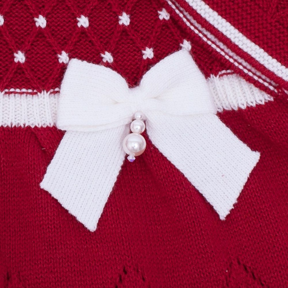 Saída de maternidade casinha de abelha vestido com cristais swarovski e calça - Vermelho red night e branco