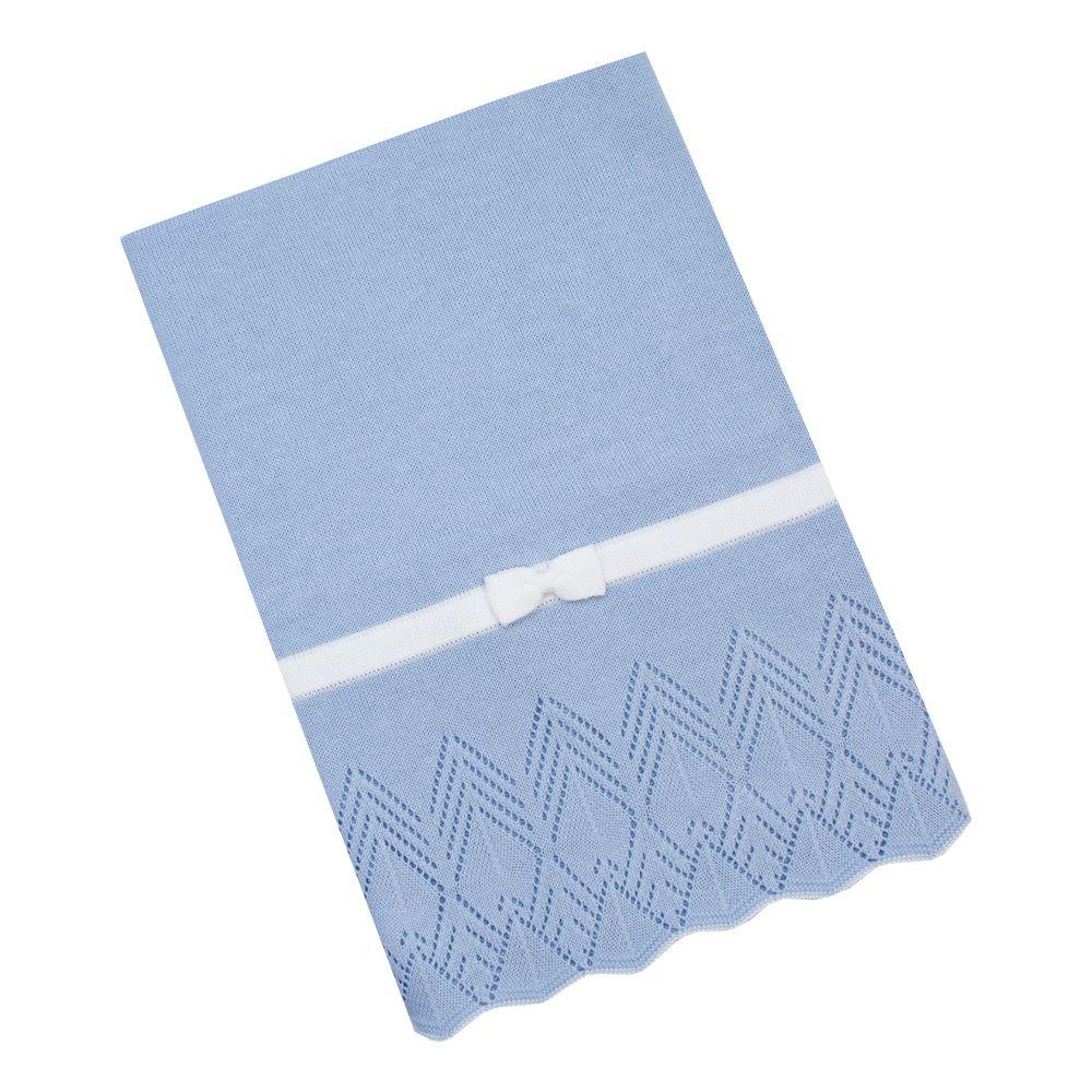 Saída de maternidade casinha de abelha vestido, calça e manta - Azul bebê e branco