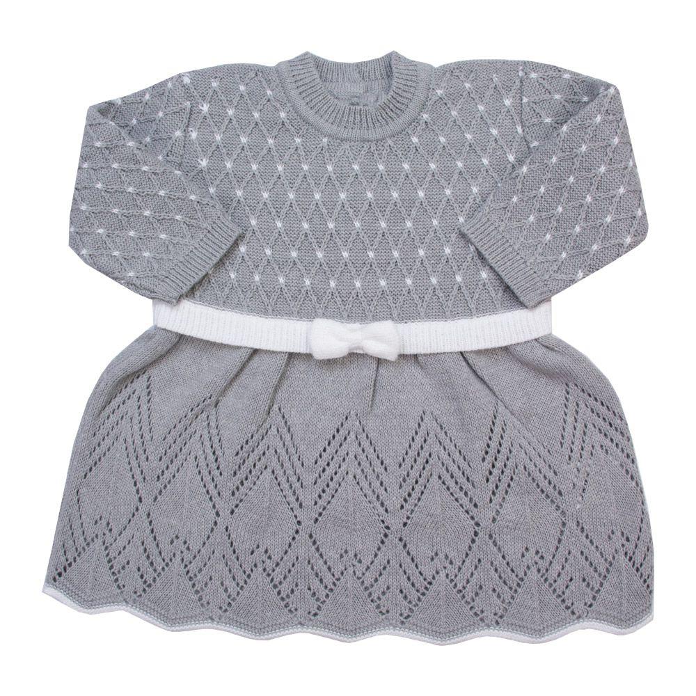 Saída de maternidade casinha de abelha vestido, calça e manta - Cinza e branco