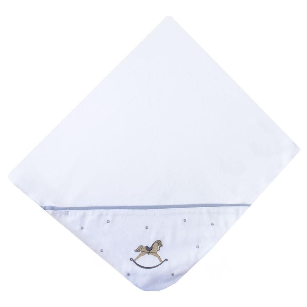 Saída de maternidade cavalinho macacão e manta - Branco e cinza