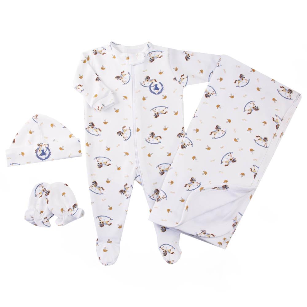 Saída de maternidade cavalinho macacão, manta, gorro e luvas - Branco