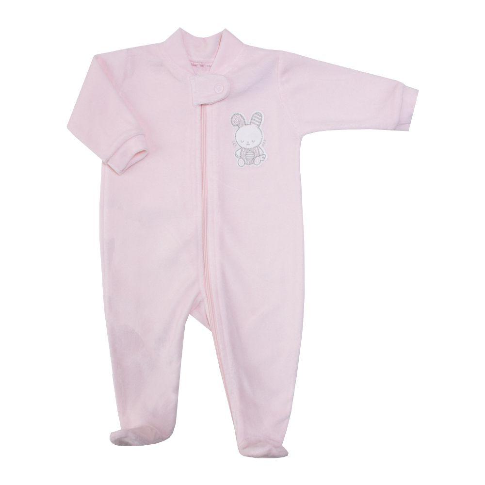 Saída de maternidade coelhinha de plush macacão e manta - Rosa bebê