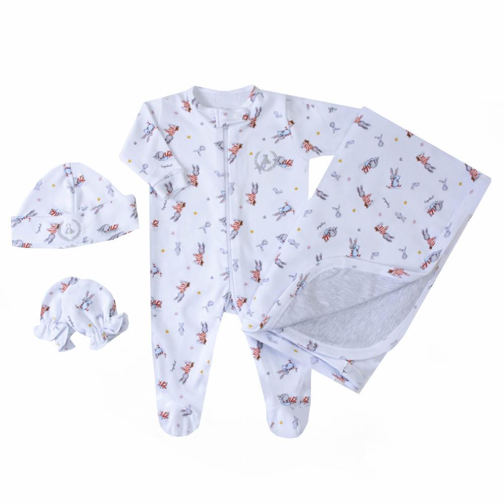 Saída de maternidade coelhinho macacão, manta, gorro e luvas - Branco