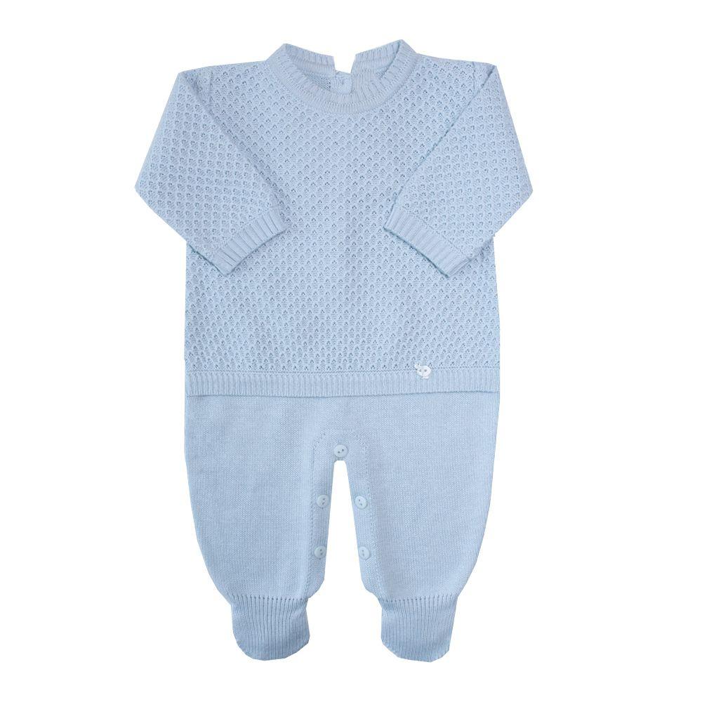 Saída de maternidade colmeia macacão e manta - Azul pó