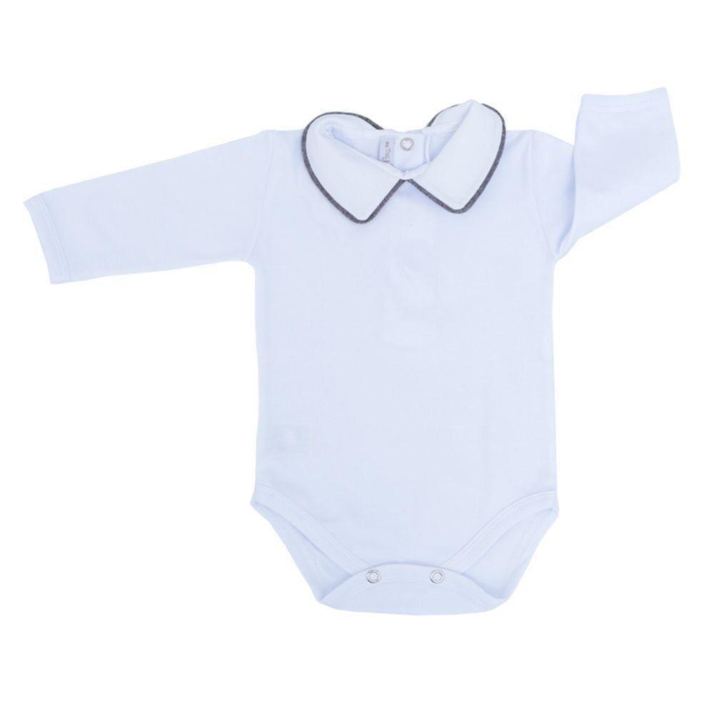 Saída de maternidade masculina 4 peças - Cinza e branco