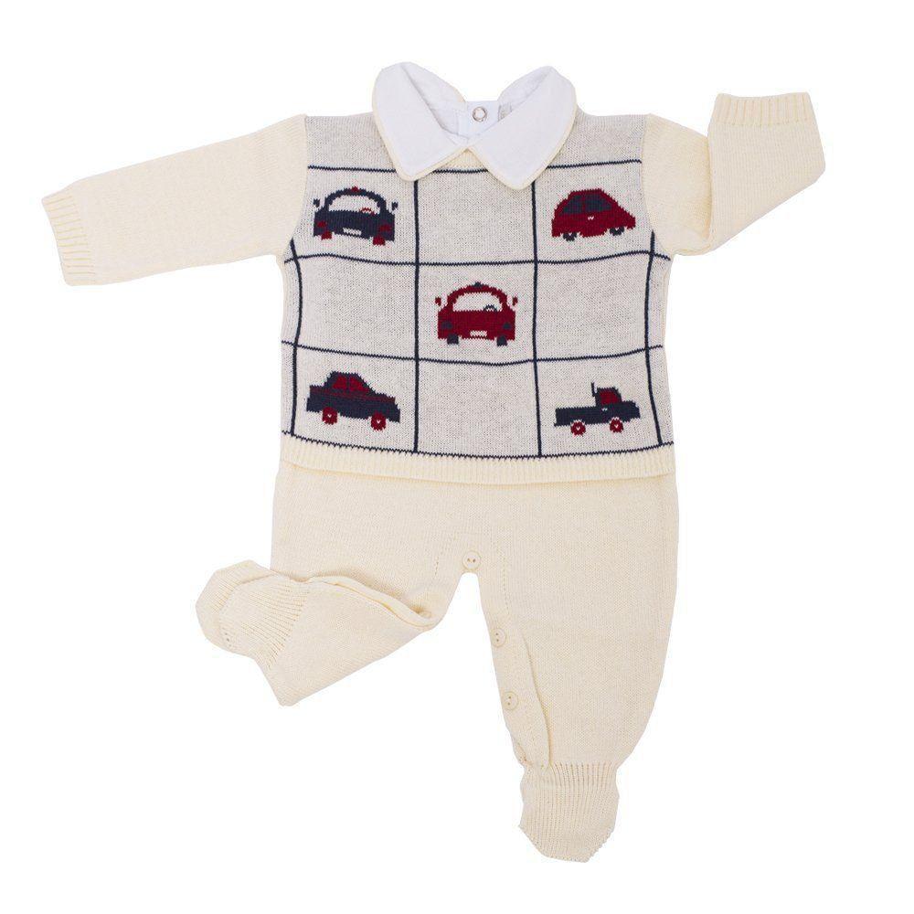 Saída de maternidade 3 peças masculina  - Amarelo bebê