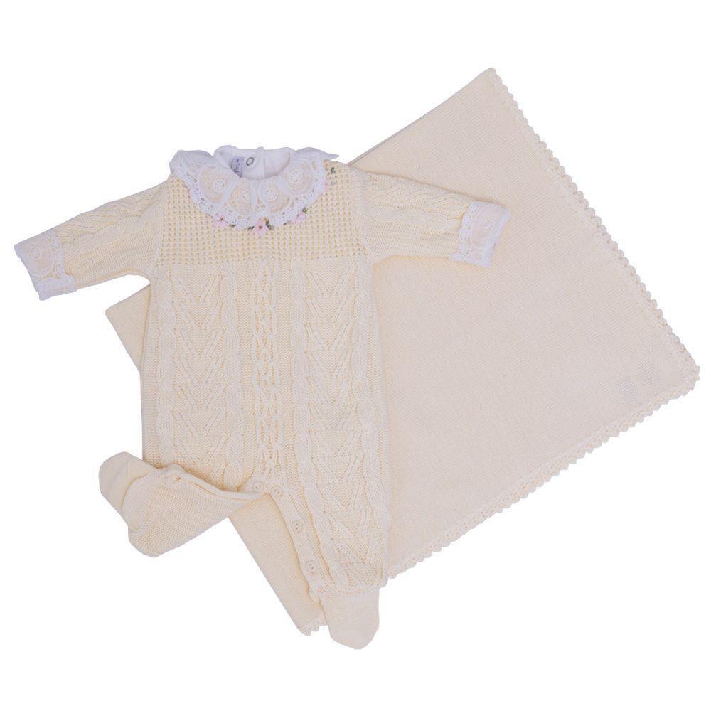 Saída de maternidade 3 peças feminina - Amarelo