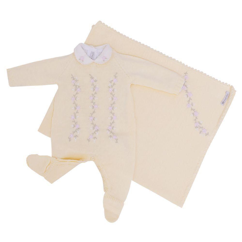 Saída de maternidade feminina 3 peças - Amarelo bebê
