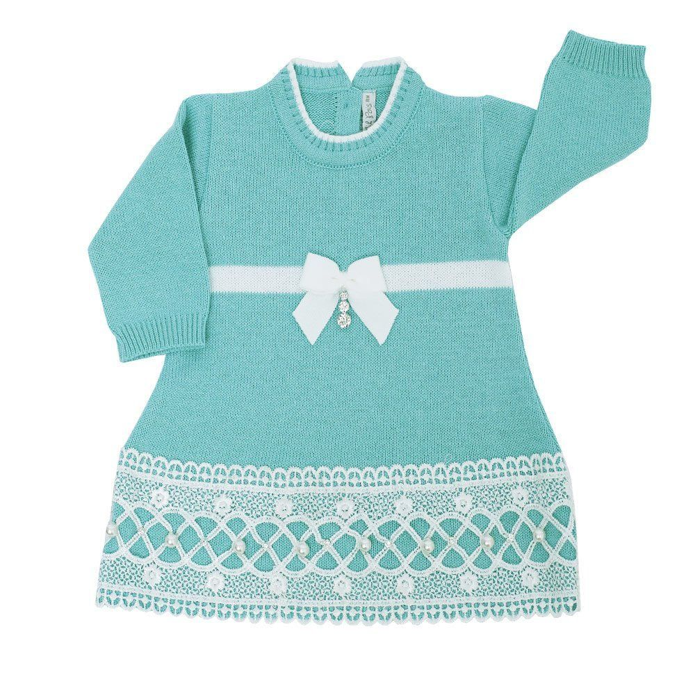 Saída de maternidade feminina 4 peças - Azul tiffany e branco