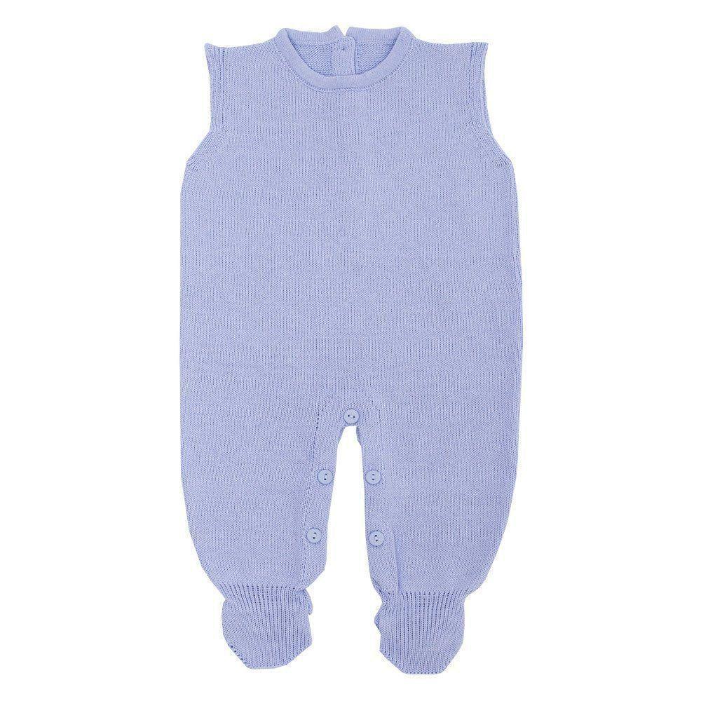Saída de maternidade com macacão, body, casaco e manta - Azul bebê e branco