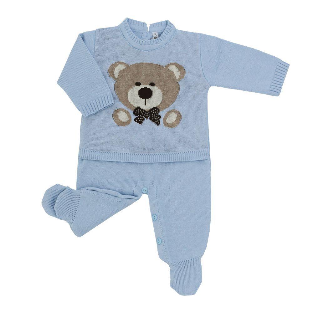 Saída de maternidade com macacão, body, culote e manta - Azul bebê