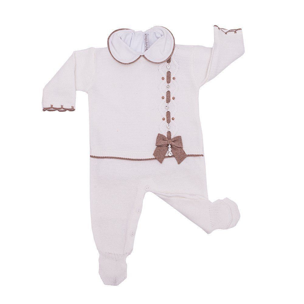 Saída de maternidade feminina 3 peças - Branco e rolex