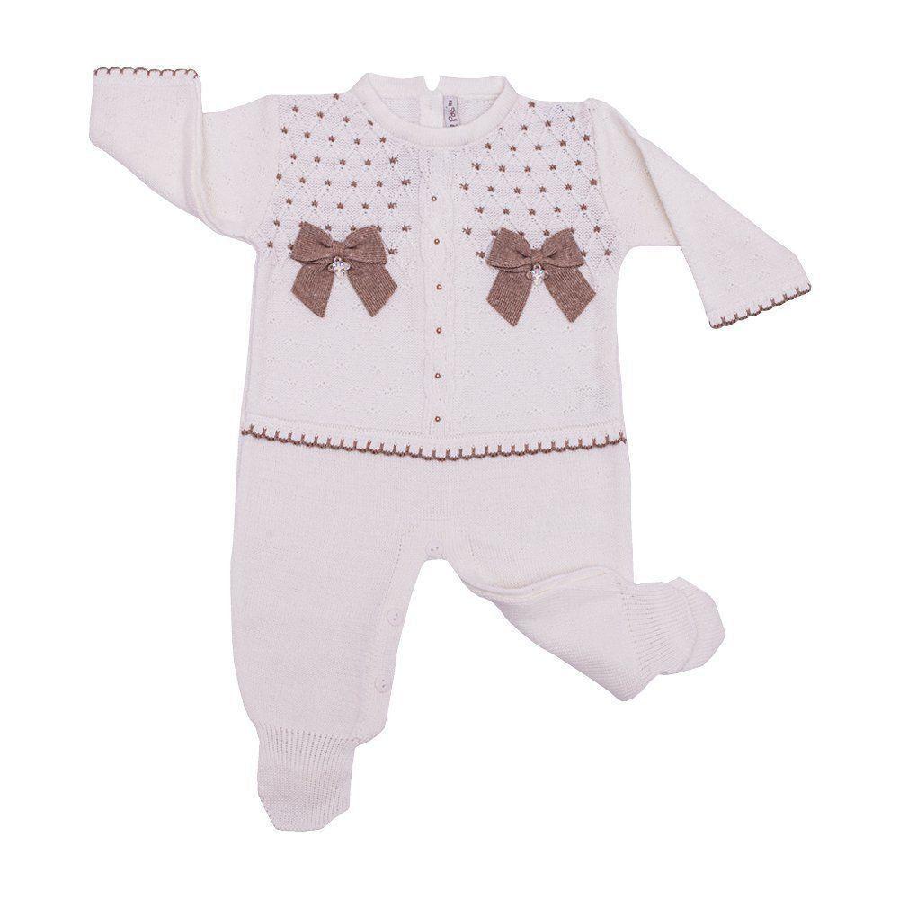 Saída de maternidade feminina macacão, body e manta - Branco e rolex