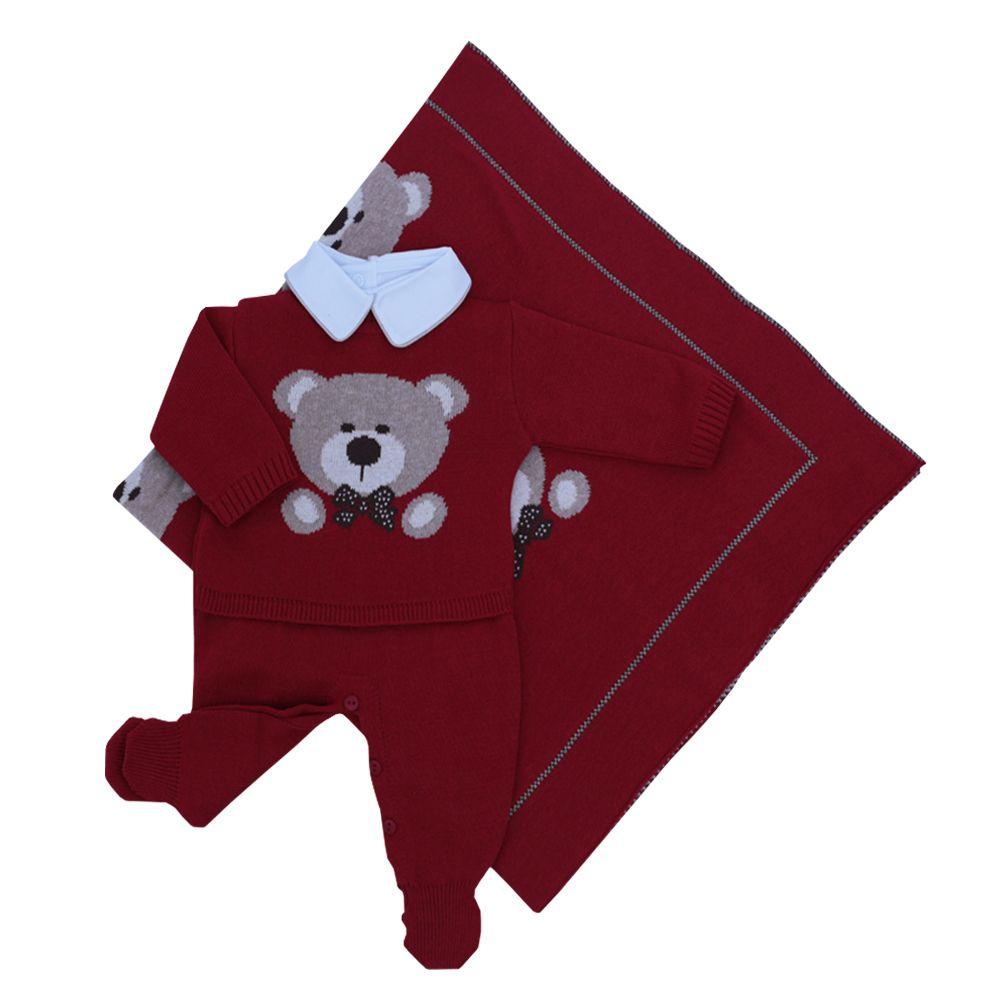 Saída de maternidade masculina 3 peças - Vermelho