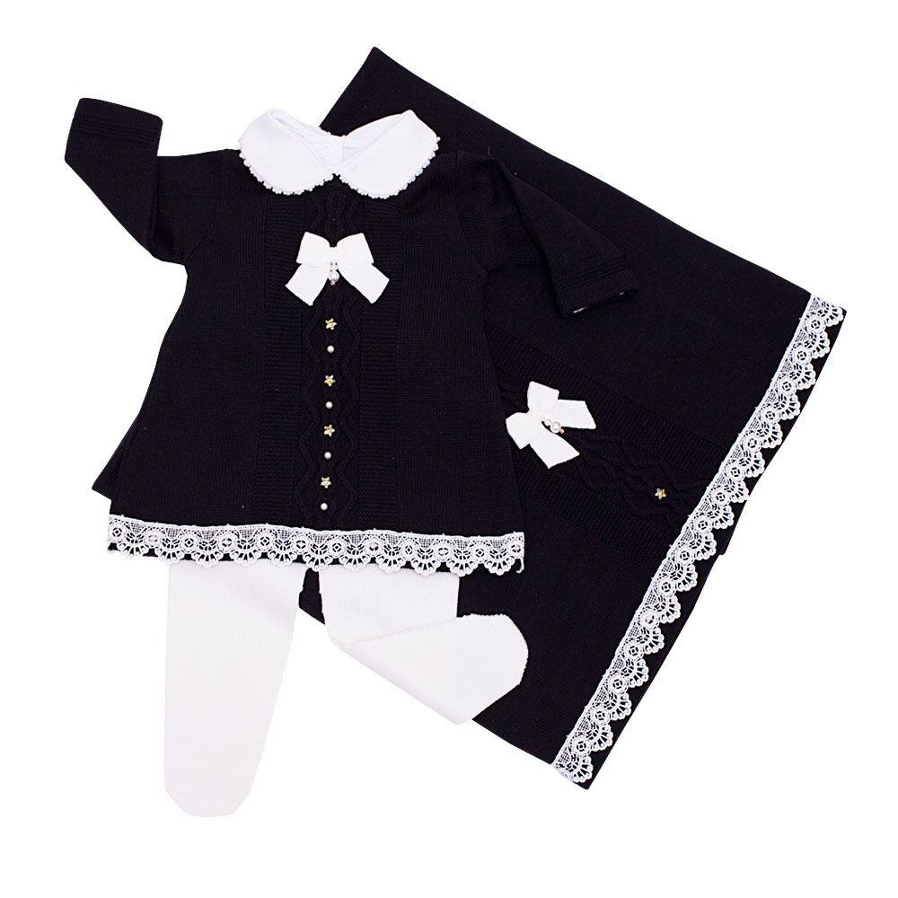 Saída de maternidade com vestido, body, culote, calça e manta - Preto e branco