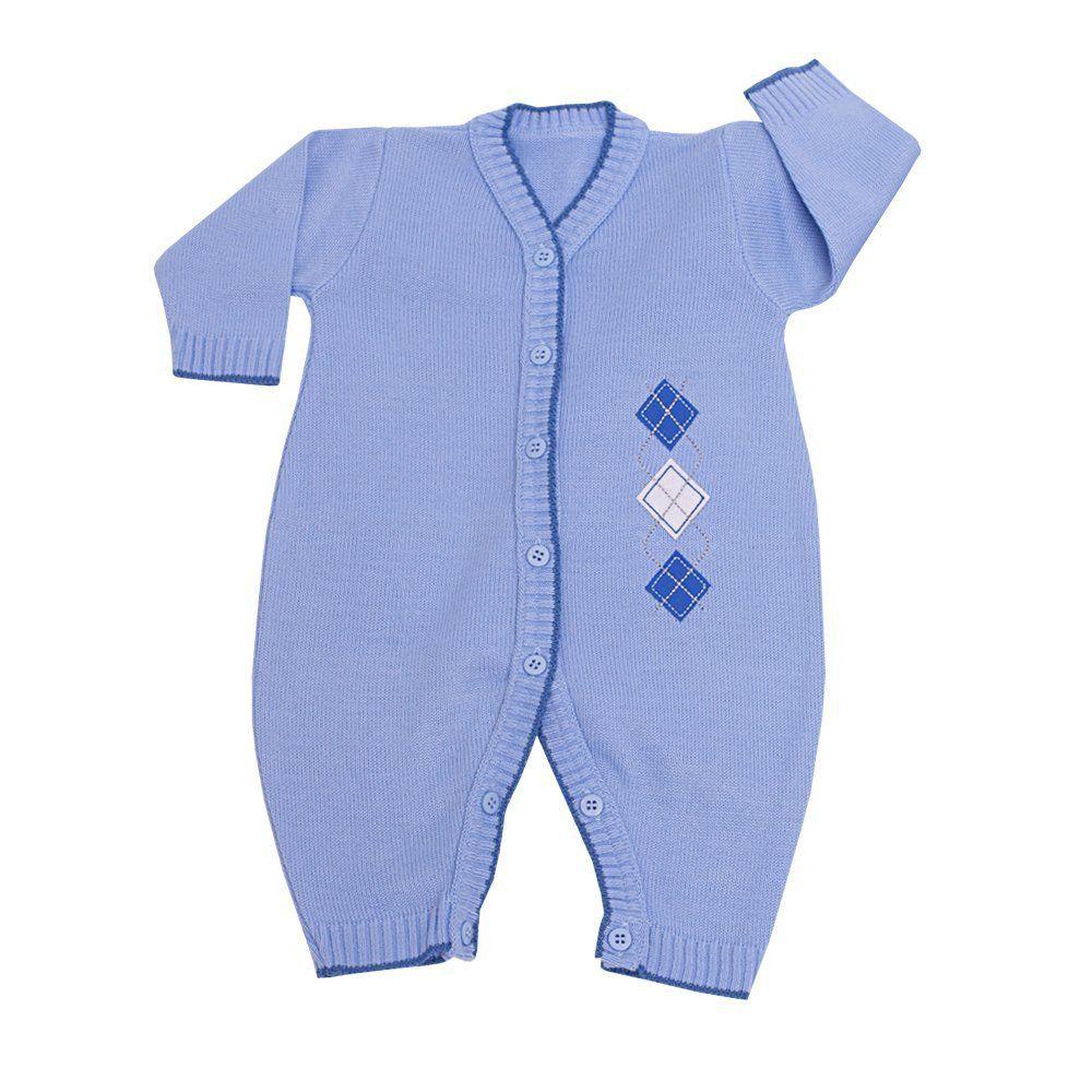 Saída de maternidade masculina escócia 3 peças - Azul bebê