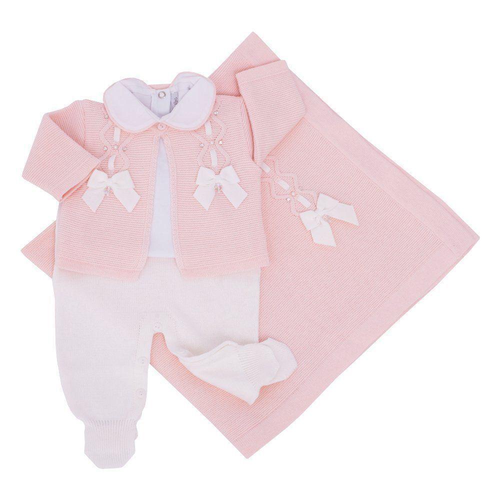 Saída de maternidade feminina 2 laços com cristais swarovski - Rosa pó