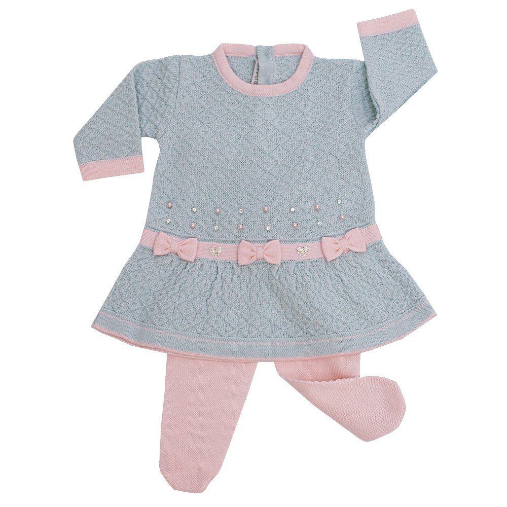 Saída de maternidade feminina 3 peças - Azul pó e rosa bebê