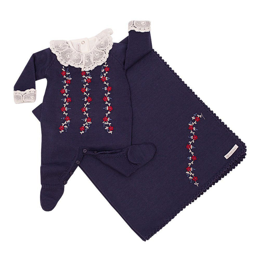 Saída de maternidade feminina 3 peças bordada a mão - Azul marinho