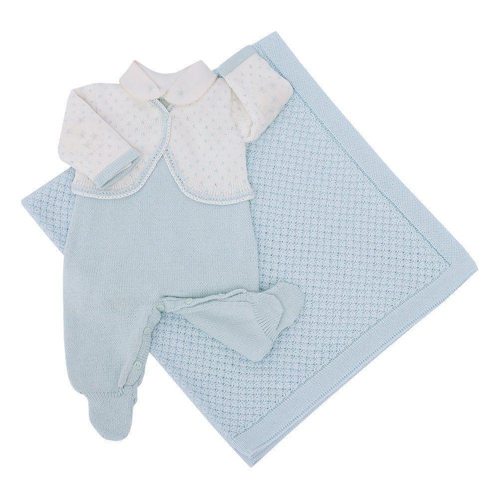Saída de maternidade feminina macacão, body e manta - Verde água