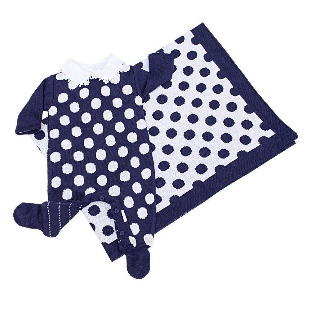 Saída de maternidade 4 peças feminina - Azul marinho