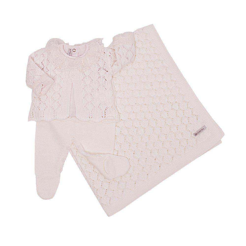 Saída de maternidade feminina 4 peças - Branco