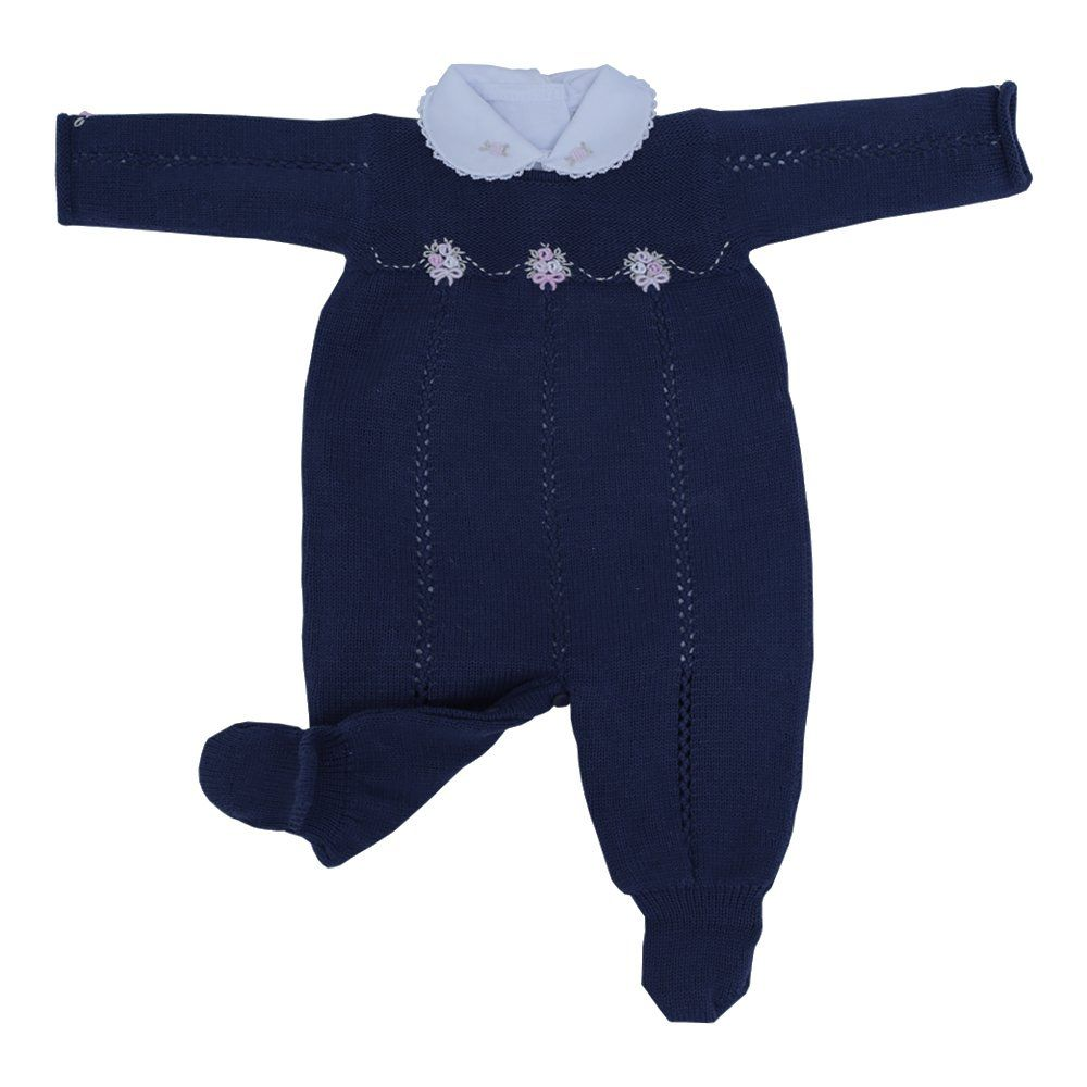 Saída de maternidade feminina bordada a mão 3 peças - Azul marinho