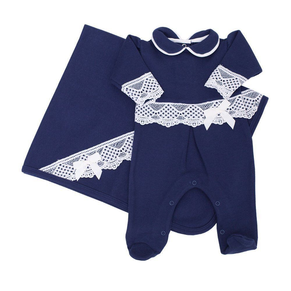 67aefaf44 Saída de maternidade feminina macacão e manta - Azul marinho - Petit Pois  Enfant ...
