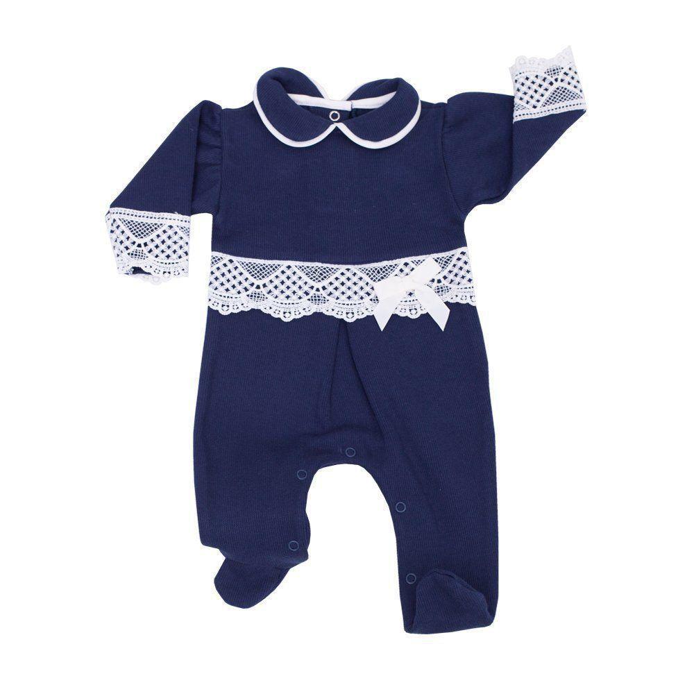 183ec1972 ... Saída de maternidade feminina macacão e manta - Azul marinho - Petit  Pois Enfant