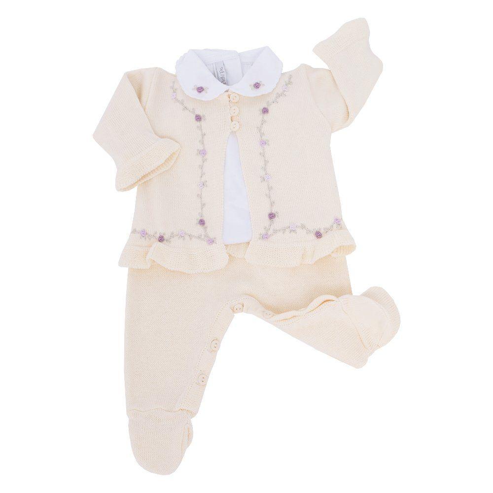 Saída de maternidade feminina bordada com rococós 4 peças - Amarelo bebê