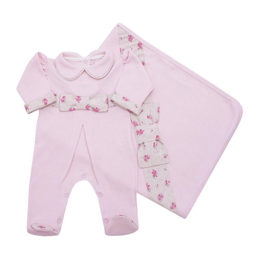 Saída de maternidade feminina bordada - Rosa bebê