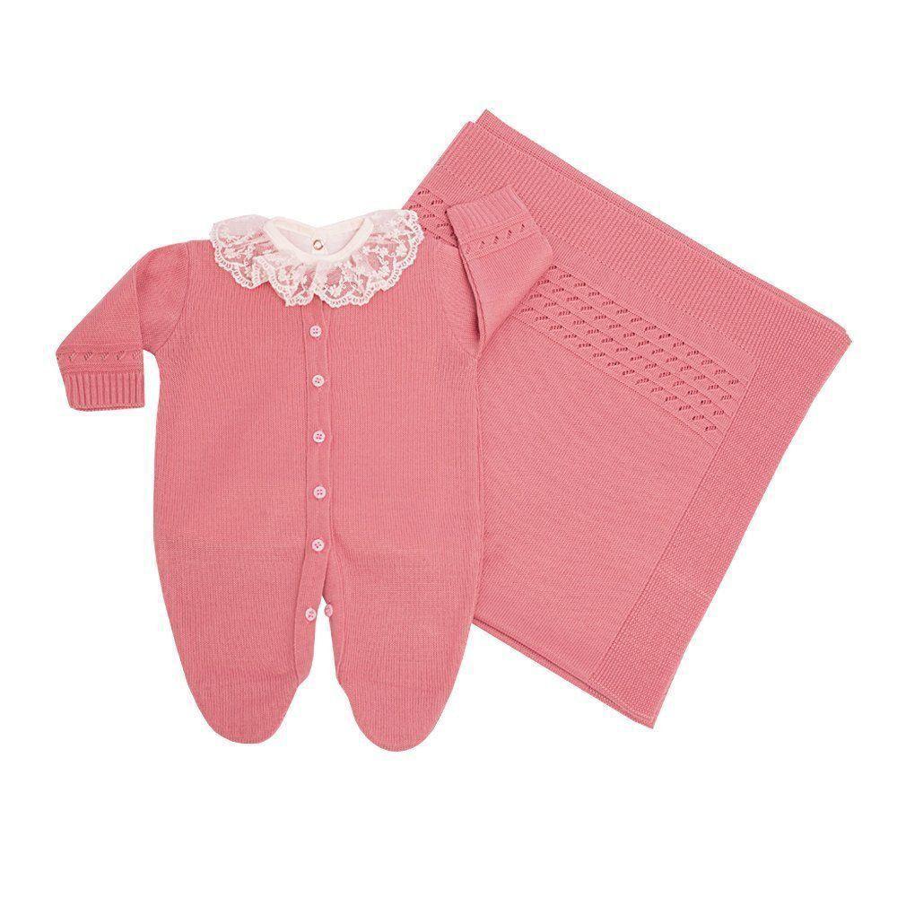 2d0ce442e Saída de maternidade feminina com body bordado de pérolas 3 peças - Rosa  cravo - Petit ...
