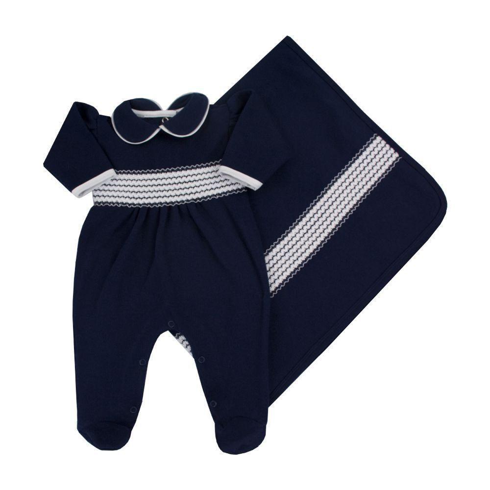 180720eda Saída de maternidade feminina macacão e manta bordada - Azul marinho - Petit  Pois Enfant ...