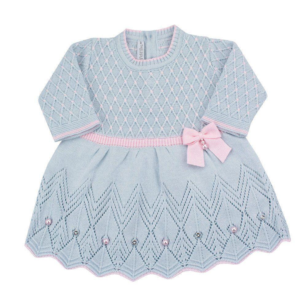 Saída de maternidade feminina vestido e manta - Azul pó