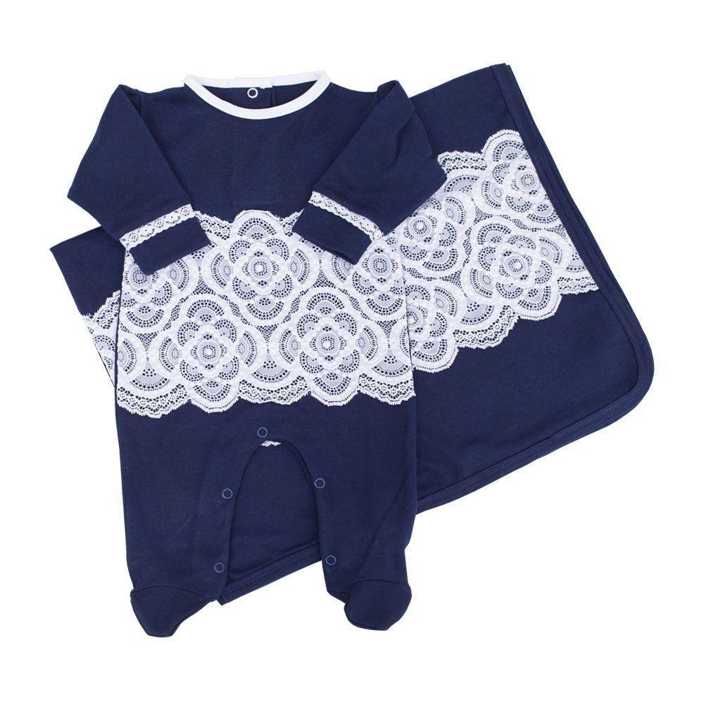 b731bbd40 Saída de maternidade feminina com renda - Azul marinho - Petit Pois Enfant  ...
