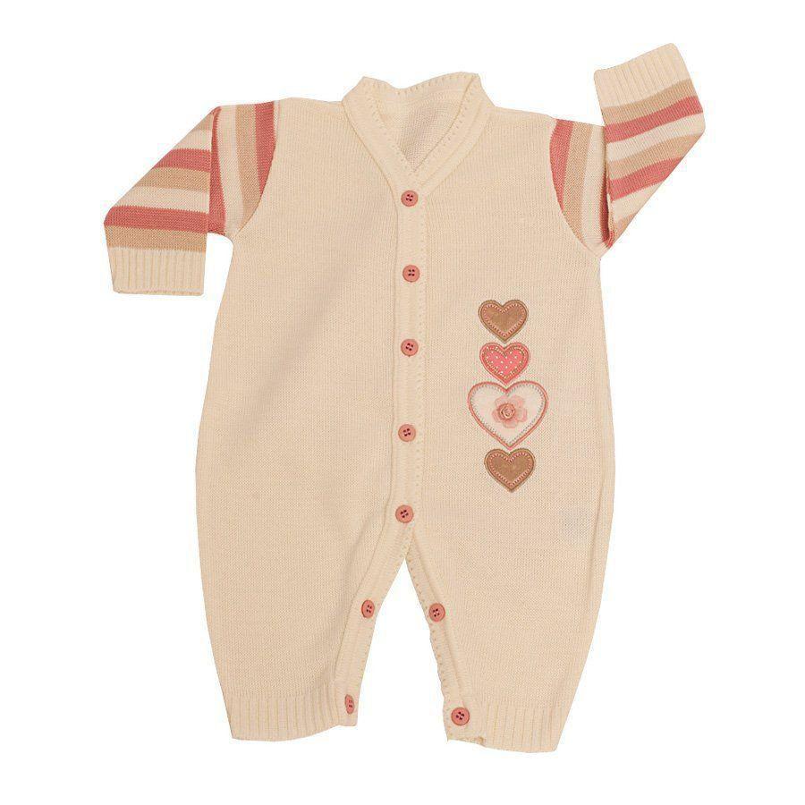 1609d5edf ... Saída de maternidade feminina corações 3 peças - Rosa Cravo/Marfim ...