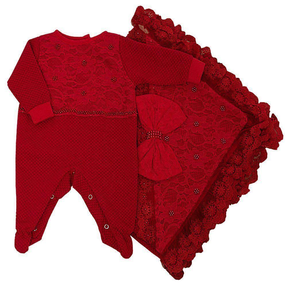 Saída de maternidade feminina em piquet com renda bordada de pérolas 2 peças - Vermelho