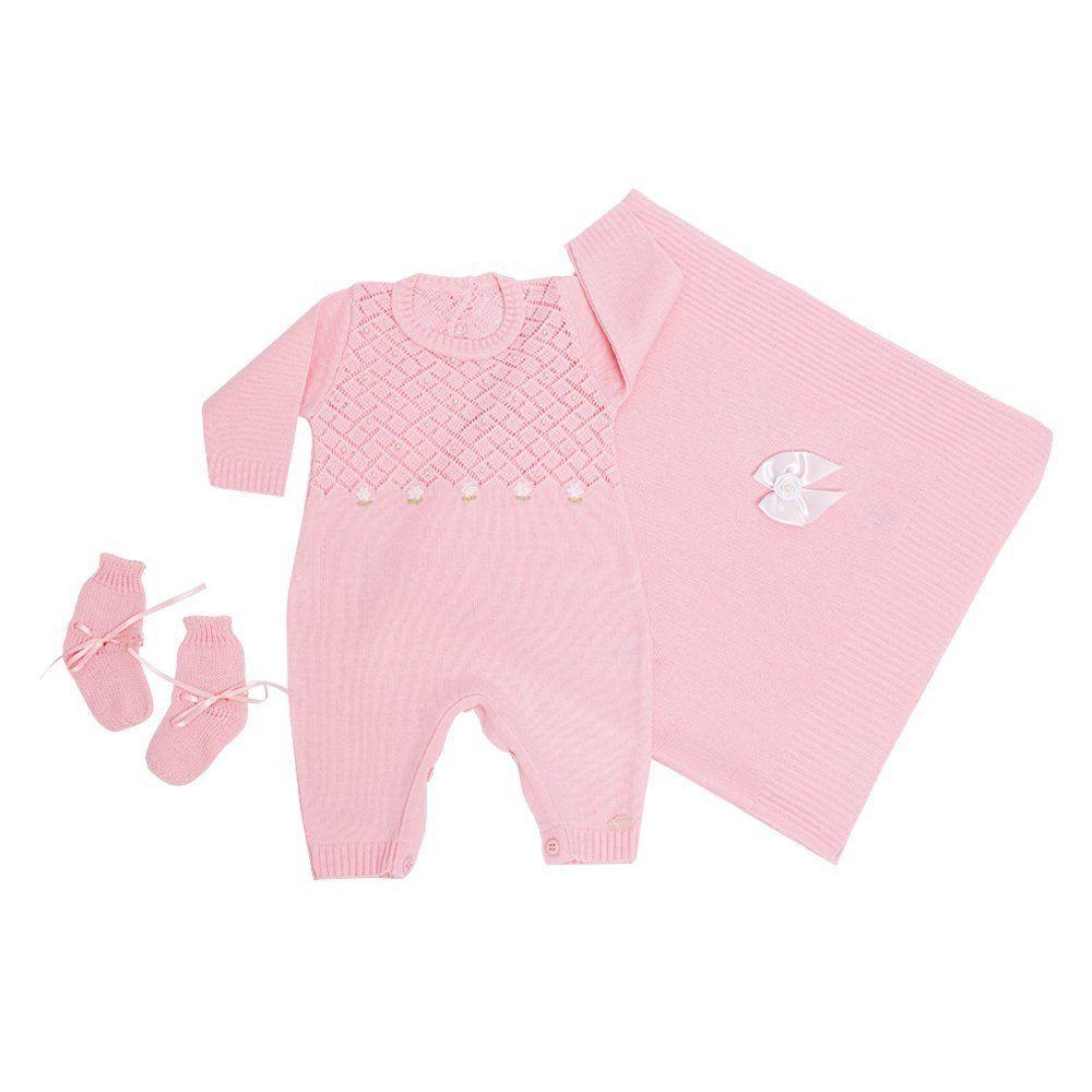 Saída de maternidade feminina floral com pérolas 3 peças  - Rosa bebê
