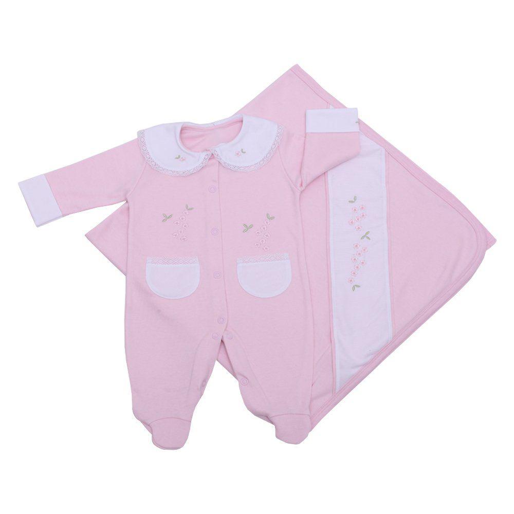 Saída de maternidade feminina flores 2 peças - Rosa bebê
