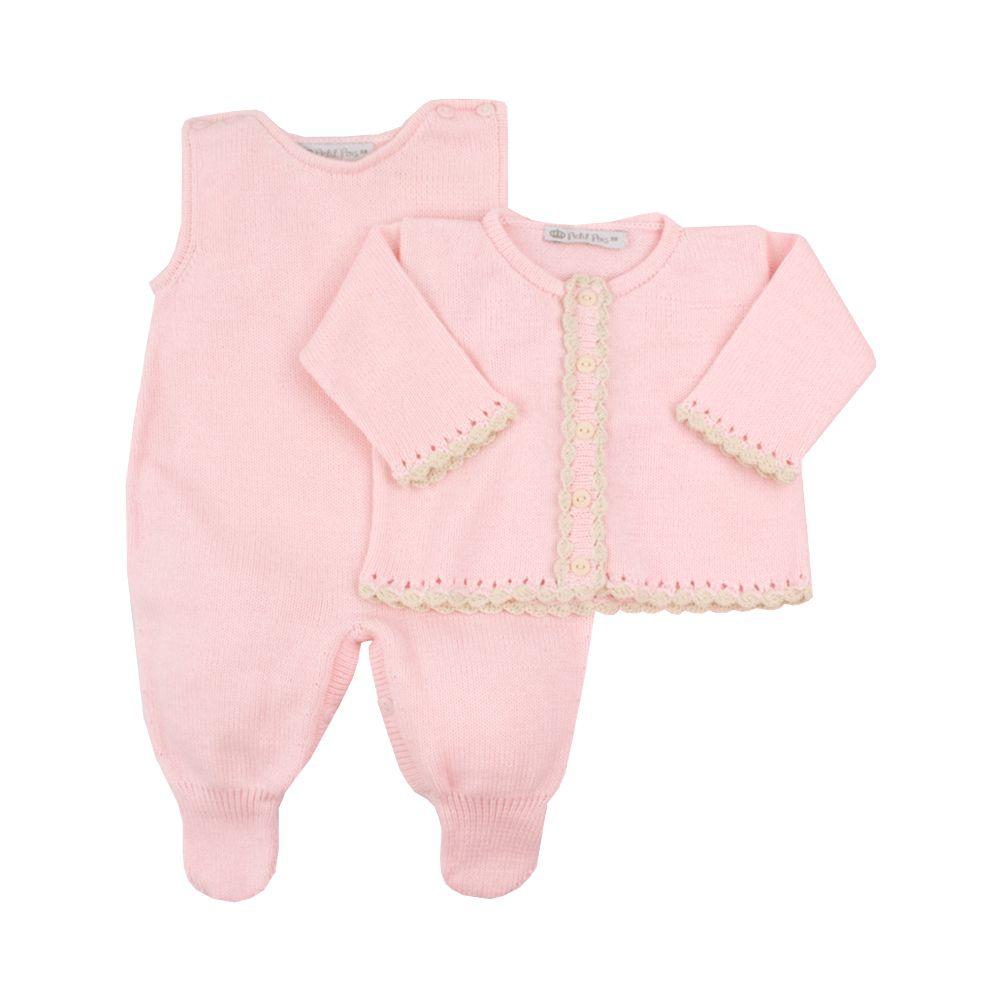 Saída de maternidade feminina jardineira, casaco e manta - Rosa bebê