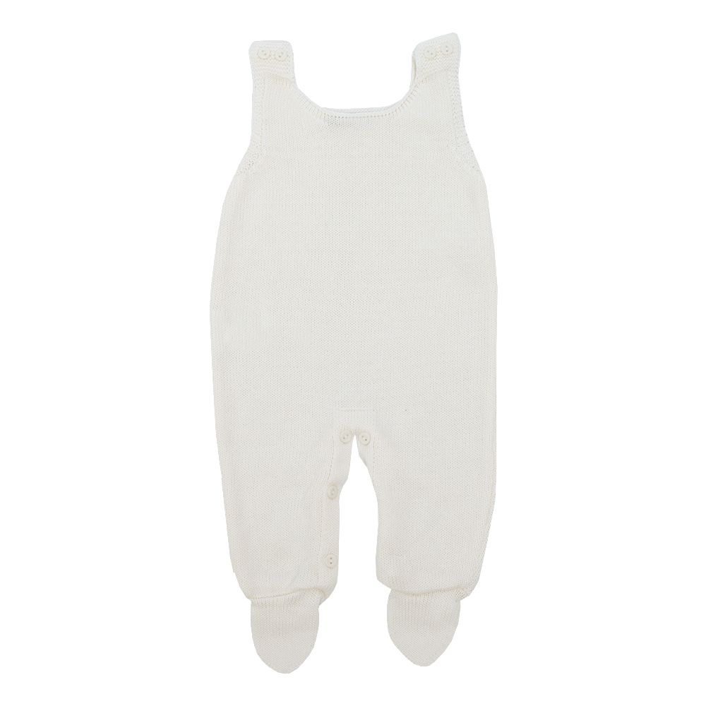 Conjunto bebê com jardineira, vestido e body - Marfim