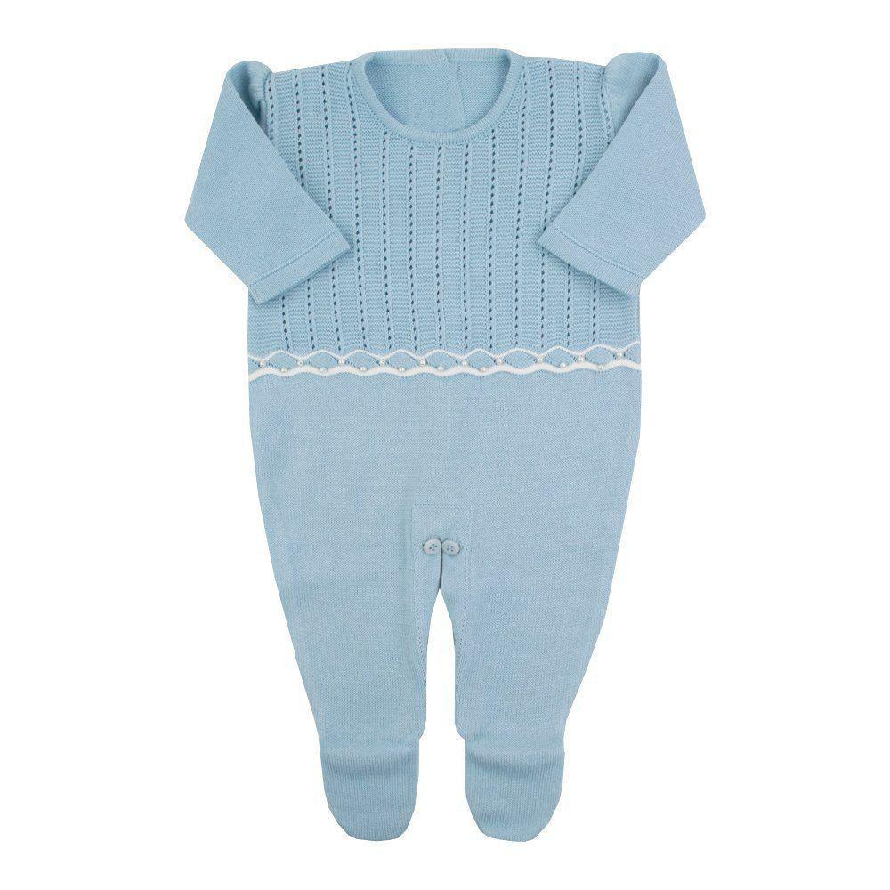 Saída de maternidade feminina macacão, body e manta - Azul bebê