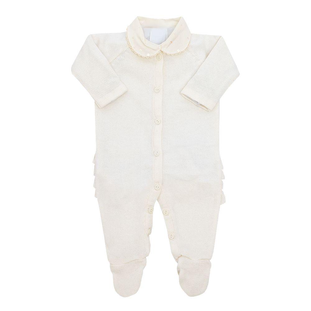 Conjunto bebê com macacão e body - Marfim